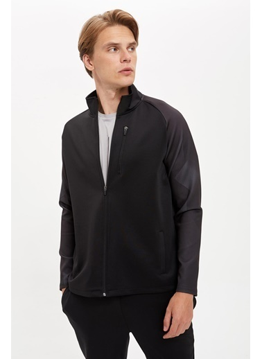 Defacto –Fit Fermuarlı Spor Sweatshirt Siyah